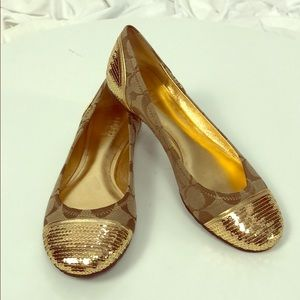"Coach ""Shine"" Gold Sequin Sig Flats NWOB Size 6"